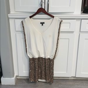 bebe gold sequin dress